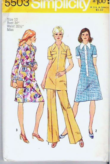 Simplicity Pattern 5503 Uncut Ladies Size 12 Dress or Tunic and Pants 1973