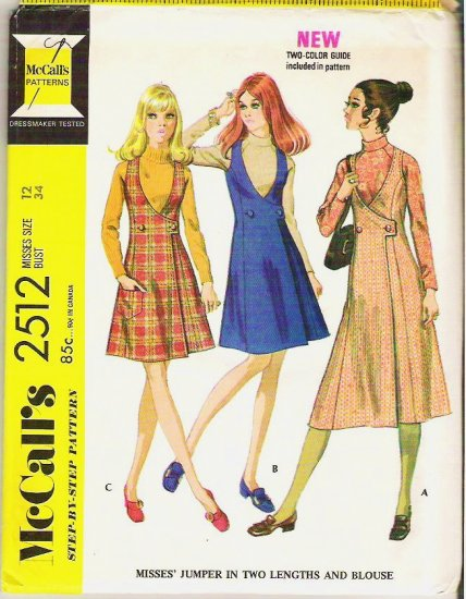Uncut McCalls Pattern 2512 Jumper in Two Lengths and Blouse Size 12 - 1970