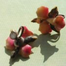 Unique Pink and Yellow Flower Earrings Screw Back Style Vintage