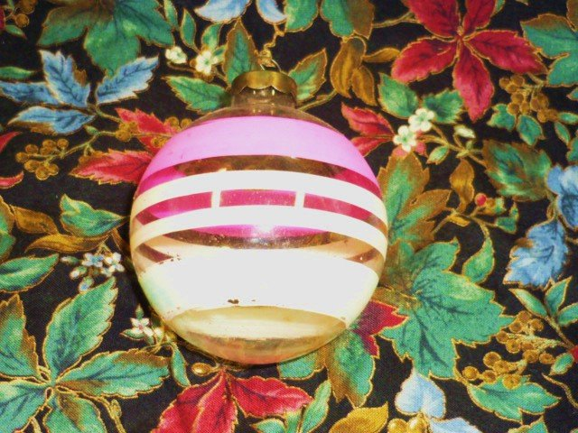 Vintage Glass Round Ornament Pink White Blue Stripes on Clear