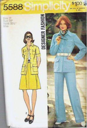 Simplicity Pattern 5588 Size 12 Shirt Jacket Skirt Pants 1973