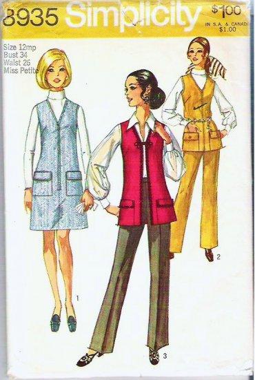 Simplicity Uncut 1970 Pattern 8935 Miss Size 12 Jumper or Vest and Pants