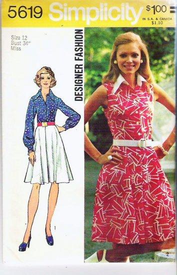 Simplicity Pattern 5619 Uncut 1973 Sz 12 Misses Designer Fashion Dress