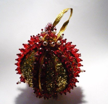 Vintage Hand Made Red Beaded Ornament - Golden Glitter