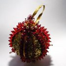 Vintage Hand Made Red Beaded Ornament - Golden Glitter