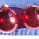 Two Lot Vintage Red Glass Ball Ornaments