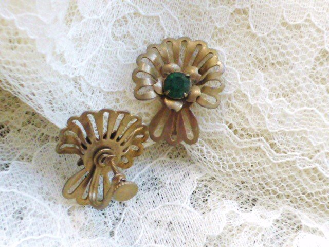 Faux Emerald Screw Back Earrings in Gold Tone Vintage