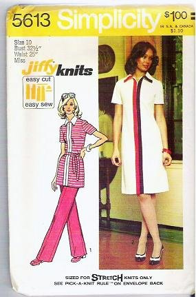 1973 Simplicity 5613 Misses Sz 10 Jiffy Knit Dress or Tunic and Pants