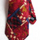 Roundtree and Yorke Silk Tie Dillards Hand Sewn Italy Red Blue Tan Black