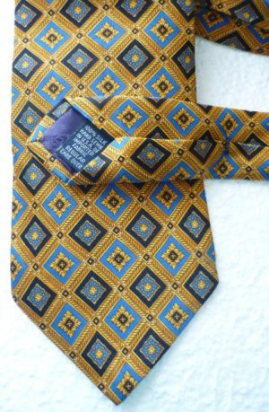 Roundtree and Yorke Silk Tie Black / Blue on Gold Diamond Pattern Handmade