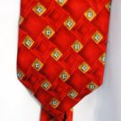 Roundtree and Yorke Silk Tie Blue / Gold on Red Handmade in USA