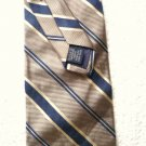 Roundtree and Yorke Silk Tie Navy / cream on Taupe Handmade in U S A