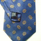 Roundtree and Yorke Silk Tie Gold Swirls on Navy Hand Sewn