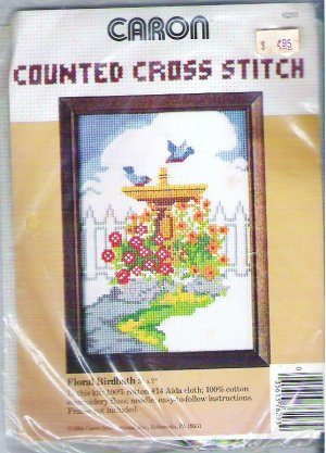 Vintage Sealed Floral Birdbath Counted Cross Stitch Kit by Caron