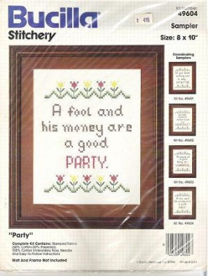 Sealed Kit: Bucilla Party Needlepoint Stitchery Sampler Number 49604
