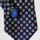 Roundtree and Yorke Silk Tie Gold with Red Circles on Dark Blue