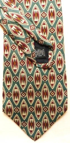 New: Roundtree and Yorke Silk Tie Green Maroon Gold Pattern