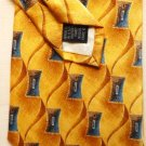 New: Roundtree and Yorke Silk Tie Blue and Tan on Gold