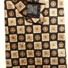New: Roundtree and Yorke Silk Tie Blue and Cream on Brown Background
