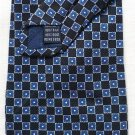 New: Roundtree and Yorke Silk Tie Blue and Gray Flower Pattern on Black Background