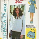 Mccalls Pattern 4664 Teens 7/8 Dress or Top with Iron On Transfer