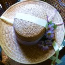 Straw Hat Bonnet Personally Designed with Lace Flowers Ribbon and Owl