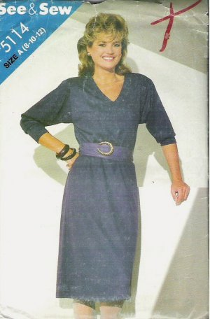 Butterick See and Sew Pattern 5114 1970s Dress Misses Size 8-10-12
