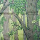 Dark Forest with Maple Leaves and Trees Cotton Fabric Material