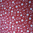Petite White Flowers on Red Fabric 32 x 96 inches