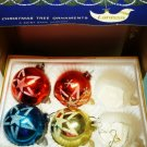 Four Glass Ornaments in Original Box by Lanissa - Germany - Shiny Bright