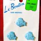 Le Bouton 3/4 Inch Lot of 3 Buttons 5272 Blue Fish - New Vintage