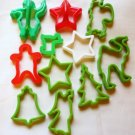 Eleven Vintage Plastic Holiday Cookie Cutters - Variety of Shapes and Colors