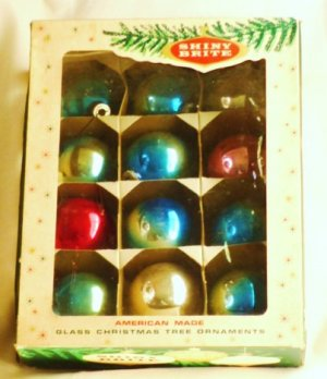 A Dozen Vintage Glass Christmas Tree Ornaments by Shiny Brite