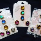 Jeweled Rhinestone Golden Button Covers Set of 14 Unused