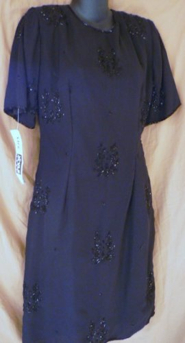 NWT Life n Style of NY Knee Length Black Evening Dress Sz Medium Elegant