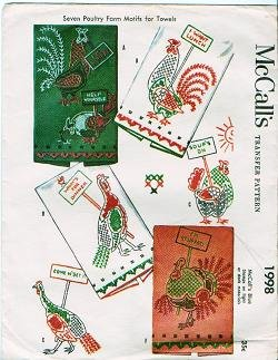 McCalls Number 1998 Poultry Farm Motif Transfers Vintage 1955 - Cross Stitching
