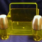 Yellow Lucite Napkin Holder and Salt Pepper Set Exc Cond