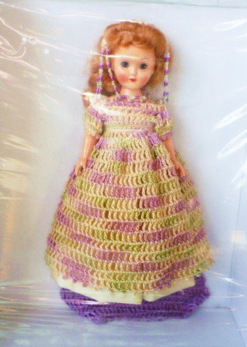Vintage Unused Victorian Open/Shut Eye Doll Handmade Crocheted Dress Cape and Hat