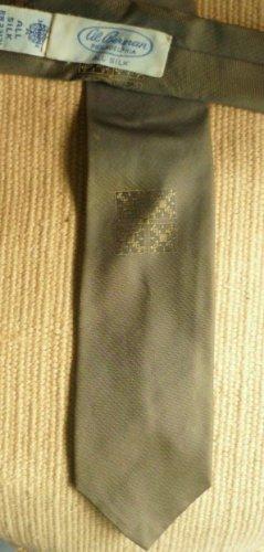Al Berman All Silk Necktie Neck Tie Green and Gold Vintage