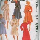 McCalls 1982 Pattern 8128 Misses Dress Sizes 8-10-12