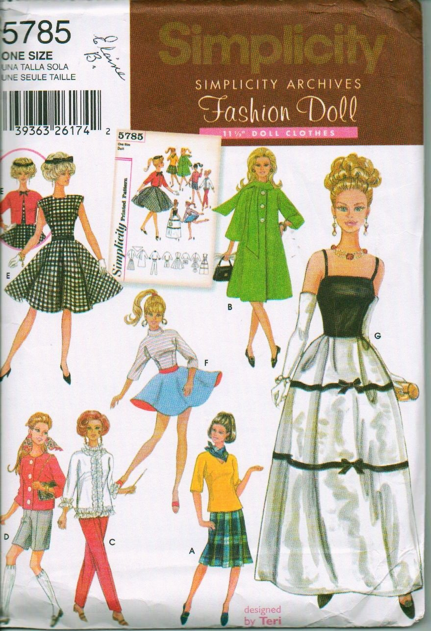 2002 Simplicity Archives Pattern Number 5785 Barbie - 11 1/2 inch Doll Clothes