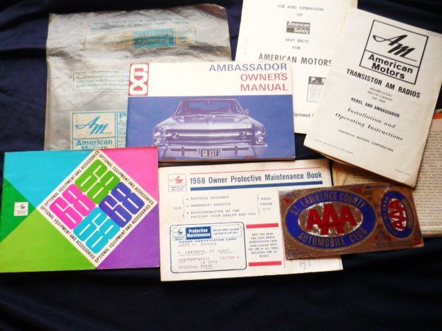Original American Motors 1968 Ambassador Manuals Ownership papers Maint books Plus!