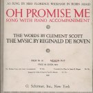 1917 Oh Promise Me Sheet Music By Scott And De Koven