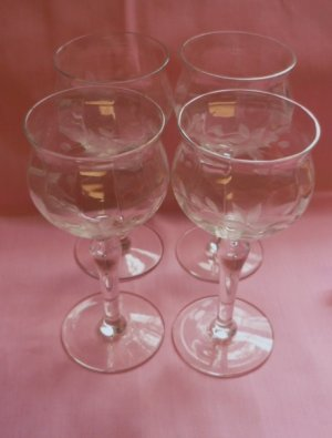 Four Cordial Etched Glass Floral Pattern Stemmed Older
