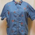 Cabin Creek Jean Top with Floral Embroidery Size 22W