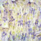 Apparenza Purple Floral Shirt Ladies Size XL 3/4 Sleeve