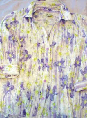 Apparenza Purple Floral Shirt Ladies Size XL 3/4 Sleeve