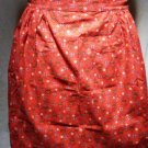 1960s Half Apron - Flowers Motif on Reddish Orange