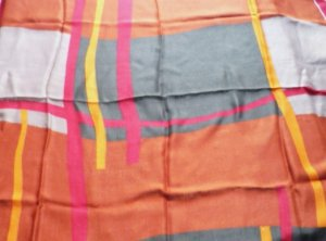 Vintage Rayon Scarf Made in Italy 30x30 Square Scarf - Green/Berry/Rust/Gray