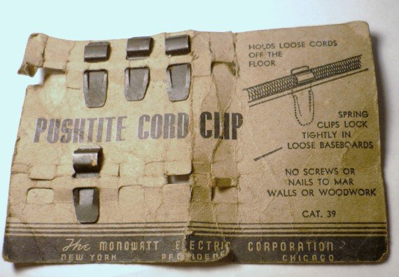 Monowatt Electric Corp Pushtite Cord Clip - Vintage Holder of Loose Cords by